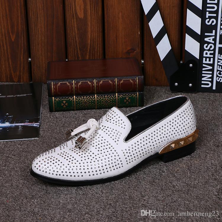 37-46 Haute Qualité Hommes En Cuir Véritable Chaussures De Mariage Oxford Blanc Cristal Strass Casual Mens Mocassins Appartements Zapatos De Mujer