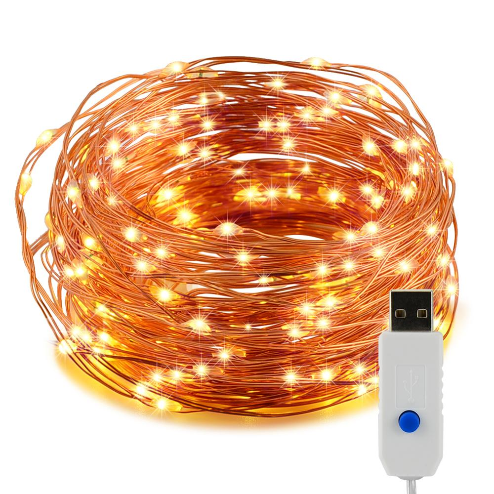 Wholesale- 10m 100 Leds Copper Wire Led String Lights USB Powered ...
