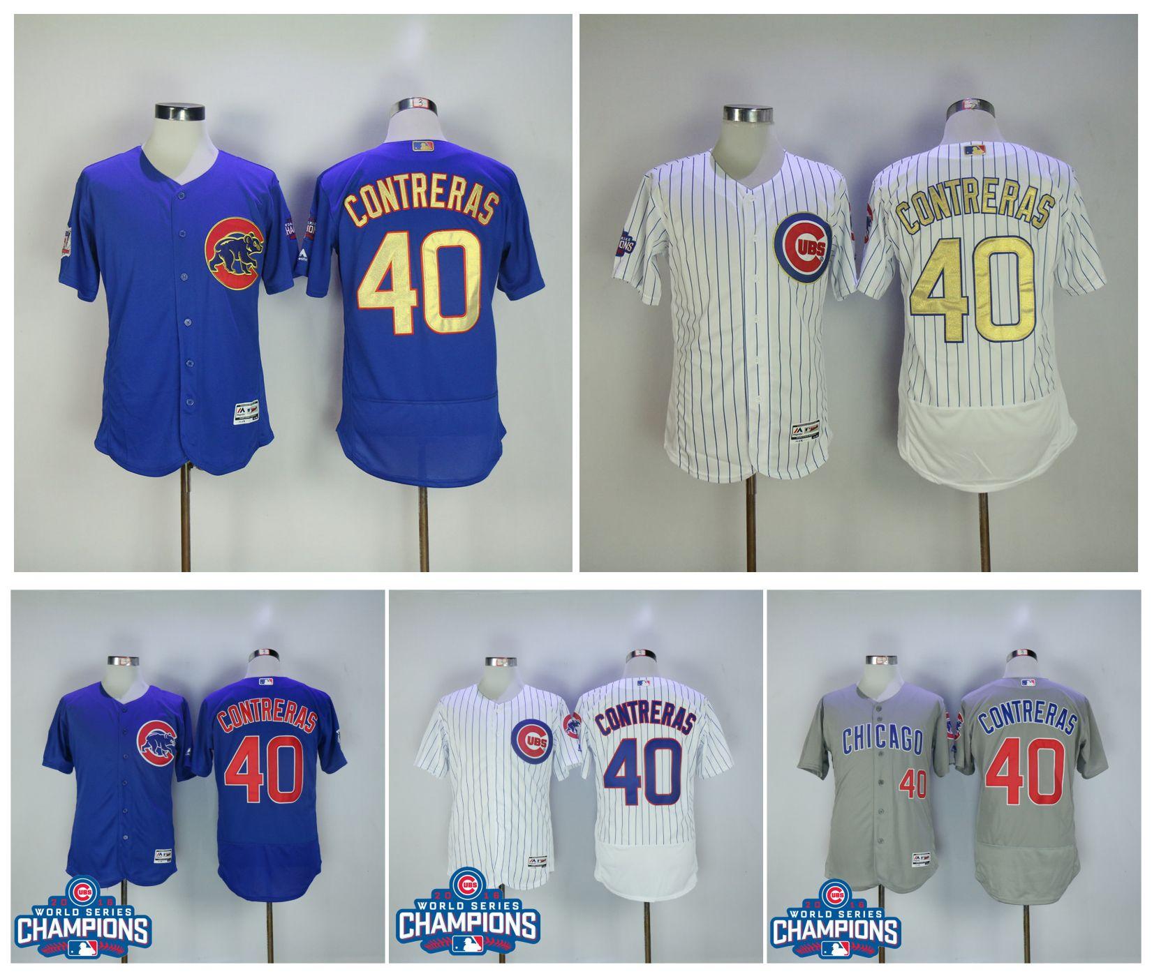 1b6b75a0a ... 2017 Cheap Men Chicago Cubs Jerseys 40 Willson Contreras Jersey Blue  White Cool Base Flexbase Shirt ...