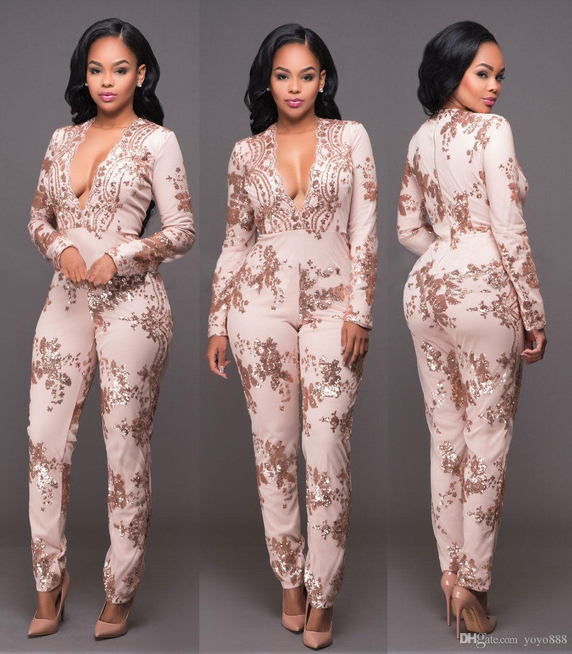 eb4205d268e5 2019 Fashion Champagne Sequins Bandage Bodycon Jumpsuit Catsuit Playsuit  Clubwear 280 From Yoyo888