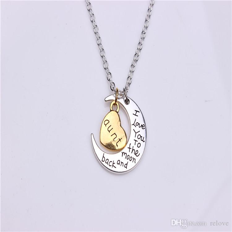 I Love You To The Moon and Back Necklace for Dad /Mun/Son Pendant Necklaces
