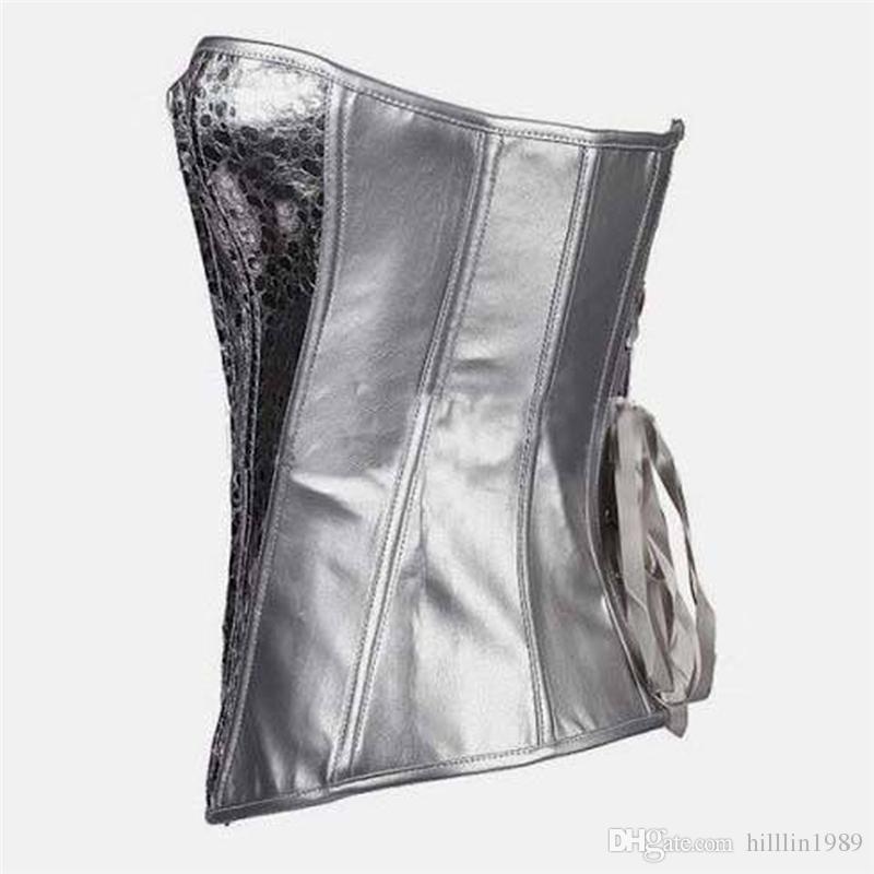 Sexy Nouvelle Arrivée Métallique Argent Pebbled S-2XL Lace Up Overbust Corset pour Femmes Item No W580856
