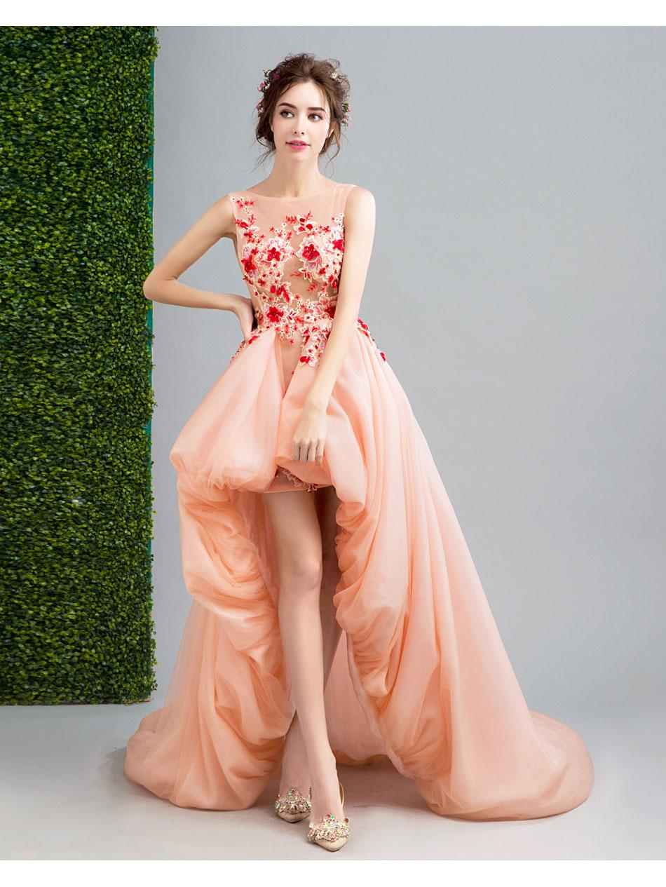 Ssyfashion 2017 New Sweet Romantic Prom Dress Banquet Coral Lace ...