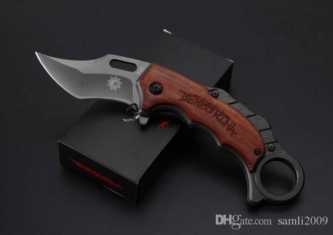 Silber NEU Karambit X62 Klappmesser 5cr15MOV Klinge Stahl + Holzgriff 57HRC grau Titanoberfläche schwarz Geschenkbox Verpackungsklaue EDC-Werkzeuge