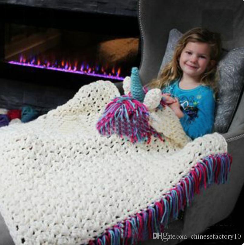 Kinder Einhorn Häkeln Decken Jungen Mädchen Wohnzimmer Sofa Decke Mit Hüte Baby Kleinkind Quaste Warme Bettwäsche Wraps Kinder