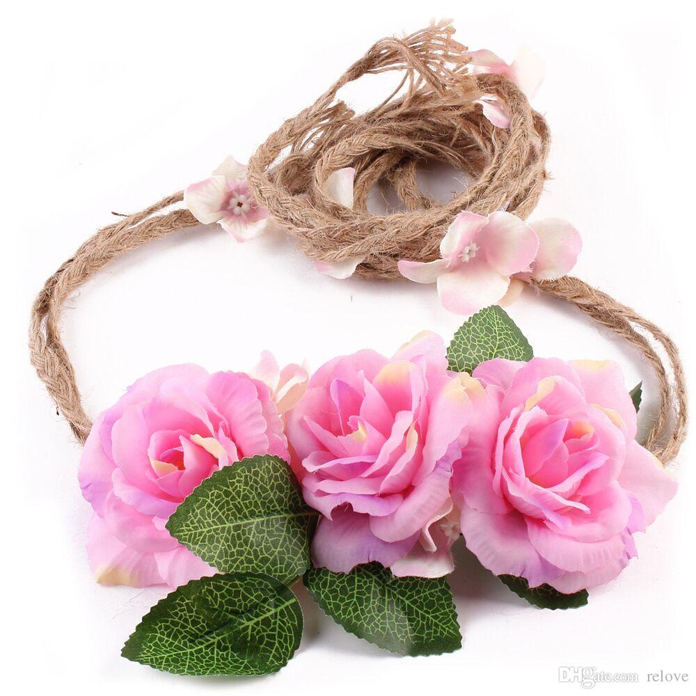 2017 new Boho beach Twist Hair Bands headband rose bridal wreath for Women Hair Accessories New flower Headbands Hair Garland Bohemian