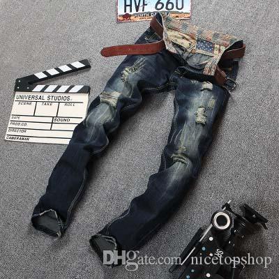 2019 Christmai Geschenk Top-Mode-Männer Zerrissene Jeans-dünne zerrissen zerstört Denim Jeans Male Distressed gepatchten Holey Straight Leg Einbau Gewaschene