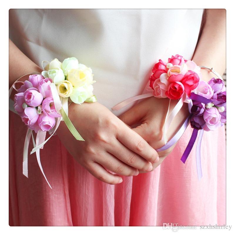 Brautjungfer Braut Hochzeit Zubehör Handgelenk Corsage Party Prom Band Hand Blume Decor Hochzeit Party Geschenk 4 Farbe der Wahlmöglichkeiten