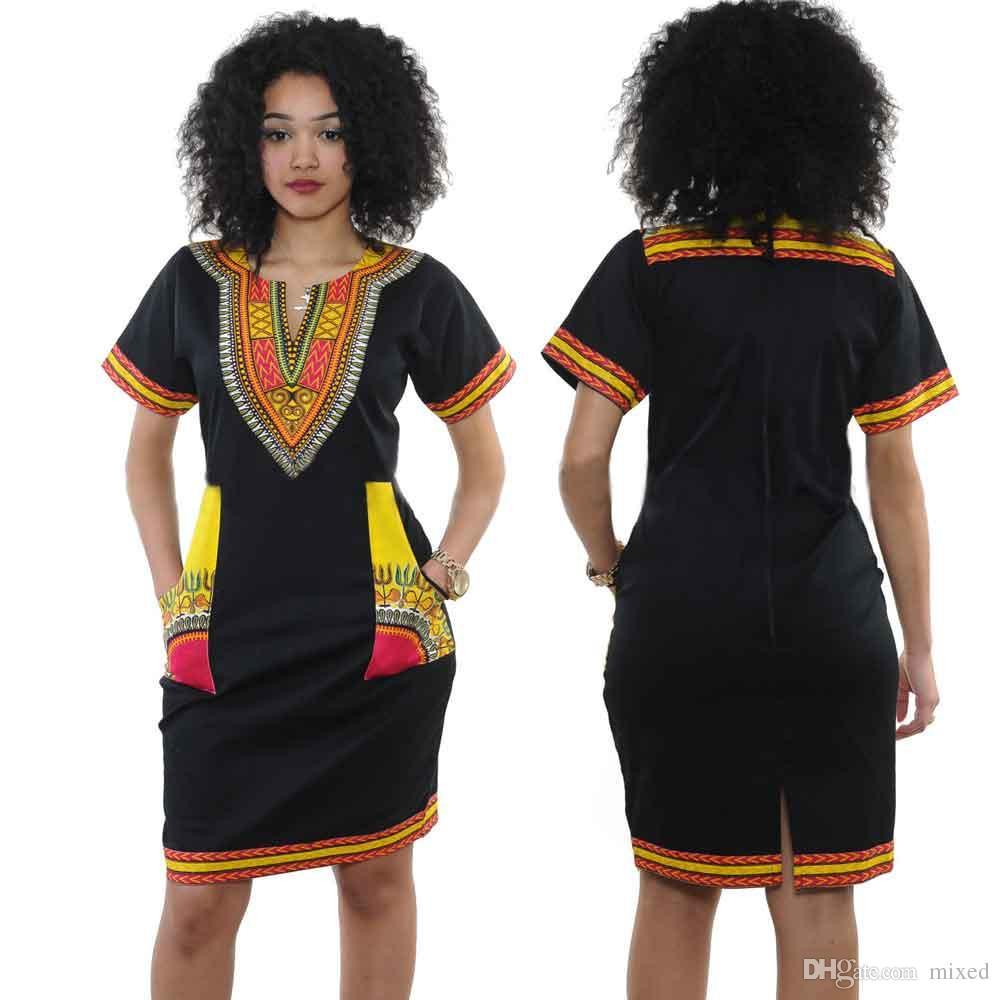 Лето Boho Dress Этнические Сексуальные Африканские Традиционные Ретро Винтаж Платье Пляжное Платье Женская Одежда Saias Femininas Vestidos