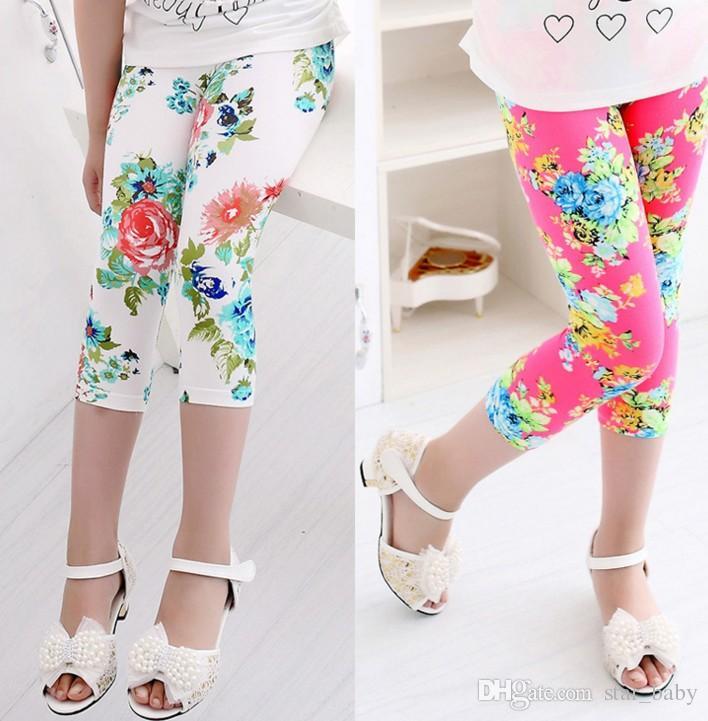 2017 Girls Spring Autumn Summer Tights Leggings Cartoon Pants Children Elastic Waist Printing Milk Fiber Seven Leggings B4692