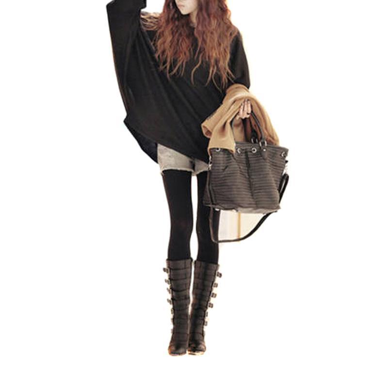 f0f47de5b753 2019 Wholesale Hot Korea Style Women Slouchy Knitted Sweater Shirt ...