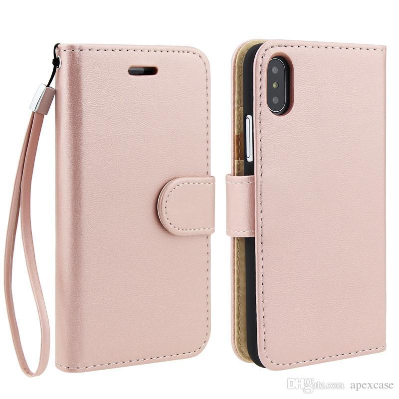 Qualität PU-Leder-Kartensteckplatz-Mappen-Telefon-Kasten-Vintage Retro Flip Ständer Cases für iPhone X 8 5s 6s plus 7 7plus mit String
