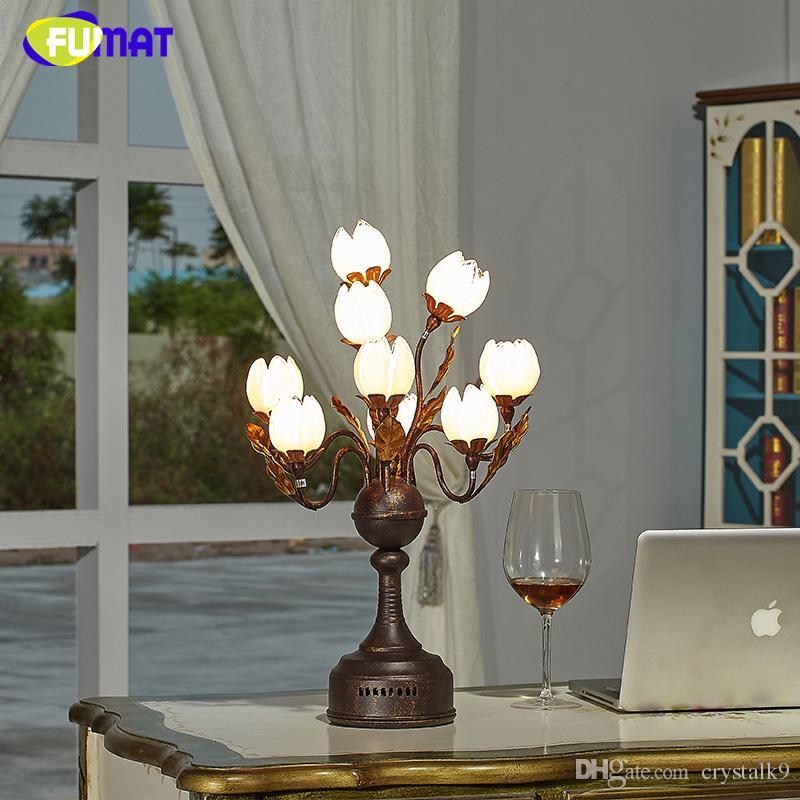 2019 FUMAT Glass Table Lamp Fashion Pastoral Lotus Flower Shade Lamp ...