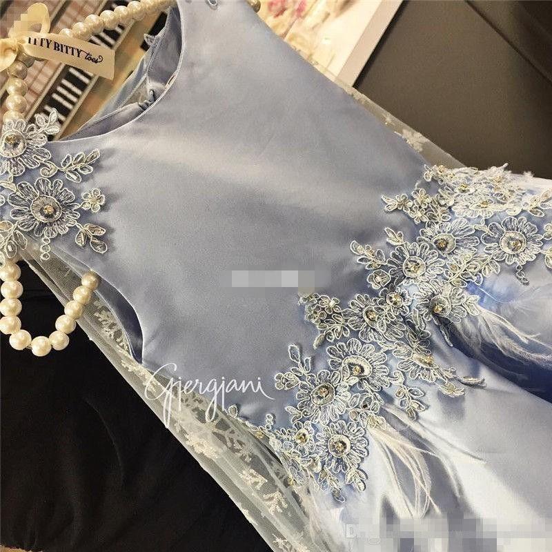 .Oddler 2017 Güzel Dantel Tüy Bel Çiçek Kız Elbiseler Ile Wrap Açık Mavi Kızlar Doğum Günü Communion Parti Elbiseler Çocuklar Resmi Giymek