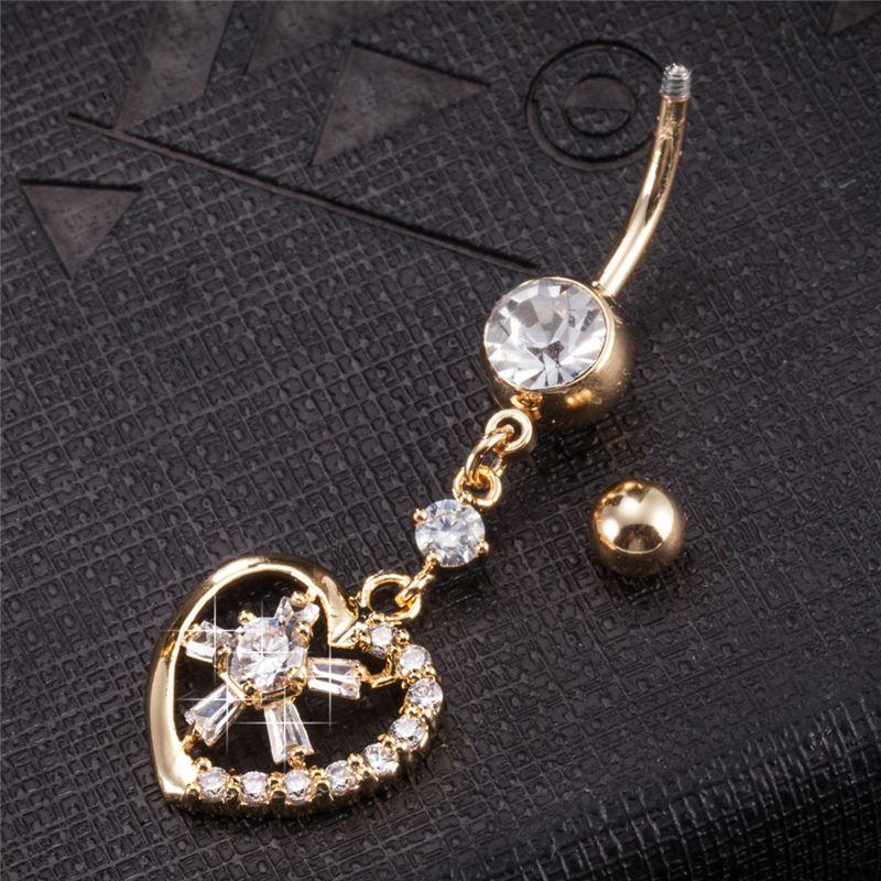 18K Yellow Gold Plated Hot Reverse Belly Rings Dangle Clear Heart Flower Dangle Navel Bar Body Piercings Jewelry