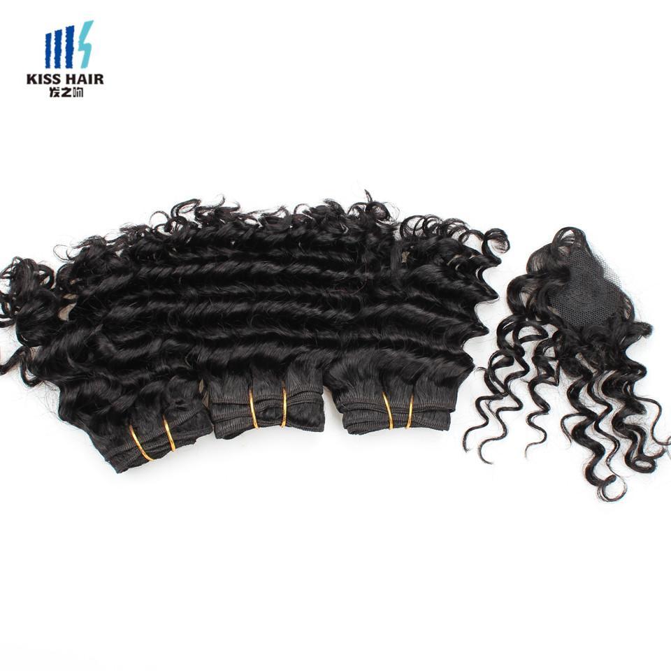 Kiss Hair 8 Zoll tiefe Welle unverarbeitete Jungfrau Remy Menschenhaar-Webart kurze Bob-Art 165g brasilianisches tiefes lockiges Jungfrau-Haar natürliches Schwarzes