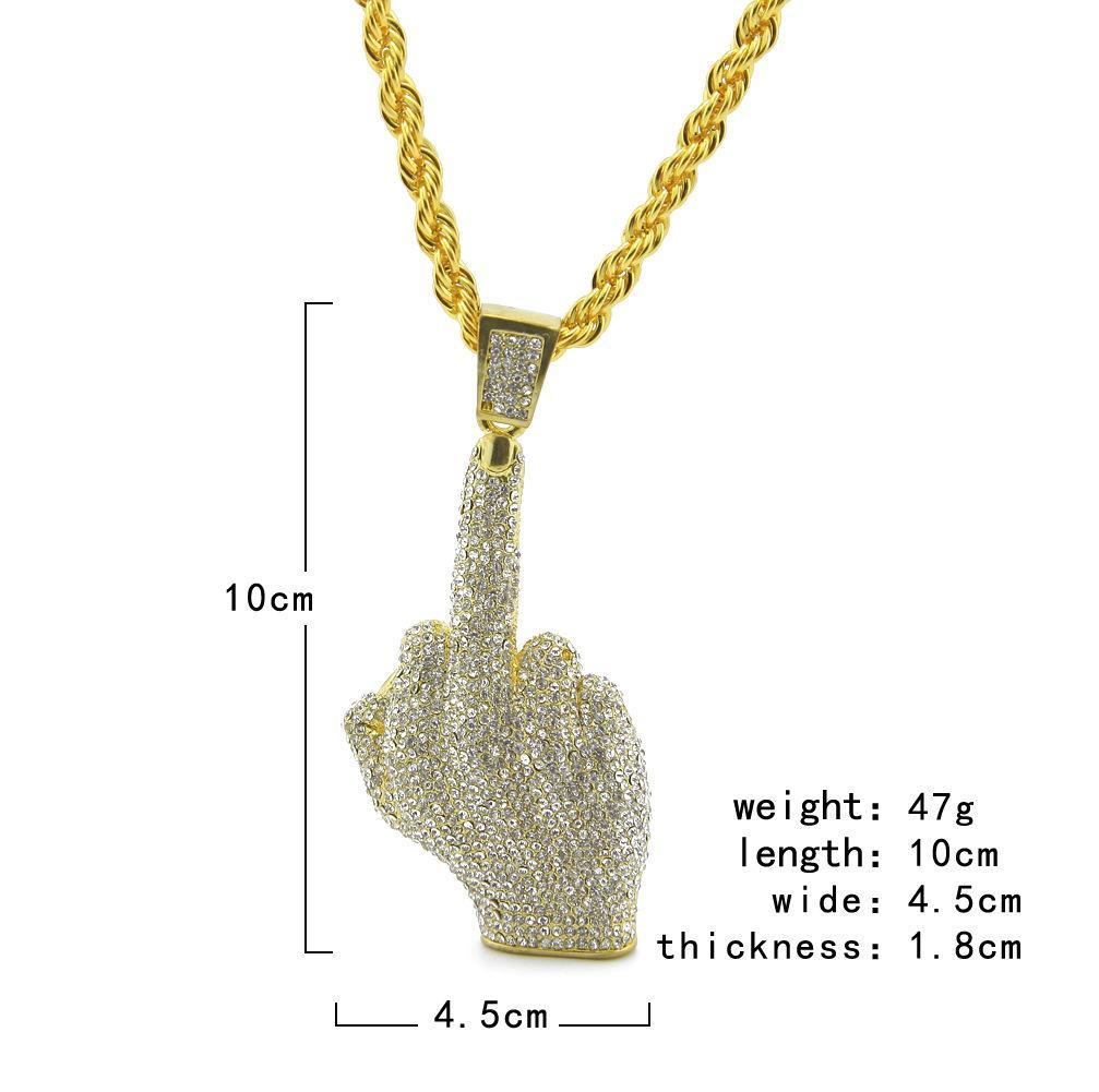 2017 chapado en oro joyería de la gema dedo colgante collares de hip hop para hombre recién llegado de lujo regalos de la fiesta al por mayor
