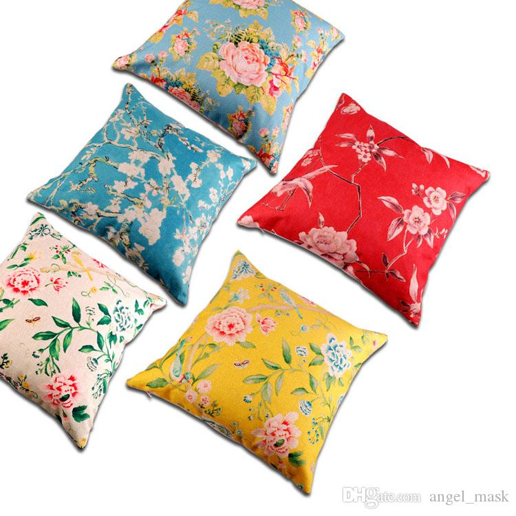 18 X 18 Inch Cushion Cover Thicken Cotton And Linen Blends Digital Printing  Chinese Peony Plant Flowers Pillow Case Cushion Covers / Pillowc Papasan  Chair ...
