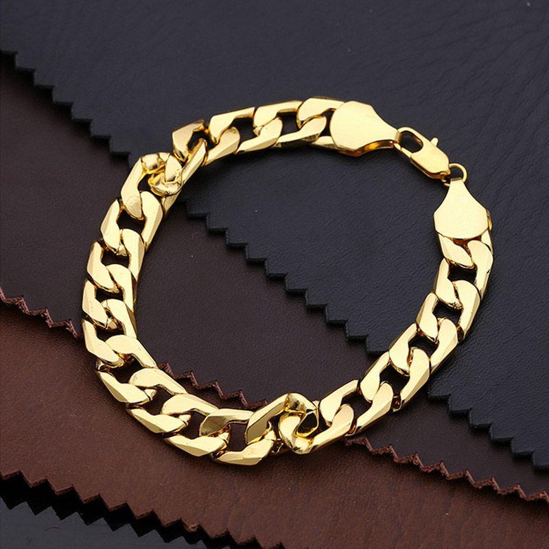 22a9cf7a3384e 24K Ywllow Gold Pure Copper Bracelet Men/Women Jewelry Wholesale Trendy  Silver/Gold Color 20CM 6MM 10MM Thick Cuban Link Chain Bracelets