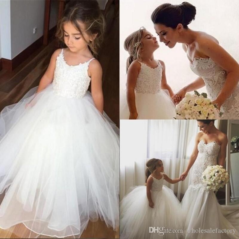 d0ad8453a20 Lovely Little White Flower Girl Dresses 2017 Princess A Line Spaghetti  Straps Puffy Tulle Appliques Long Kids Formal Wear Gowns For Weddings Flower  Girl ...