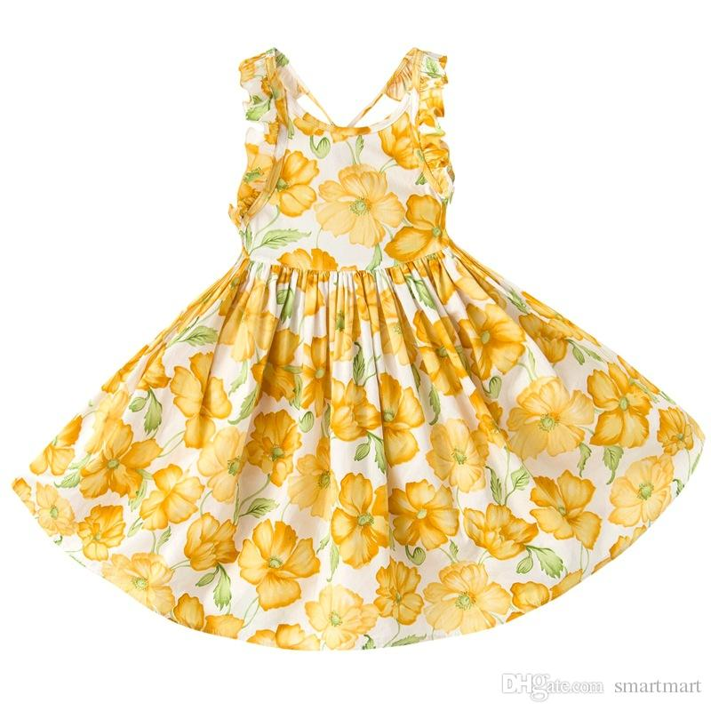 dac7cde16ef1 2019 Everweekend Girls Summer Floral Dress Halter Backless Orange Dress  Ruffles Princess Party Dresses Western Fashion Children Dress From  Smartmart, ...