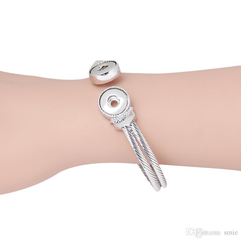 Noosa Chunks Druckknopf Bettelarmband schlichtes Design versilbert 12mm austauschbare Ingwer Snaps Armbänder Schmuck