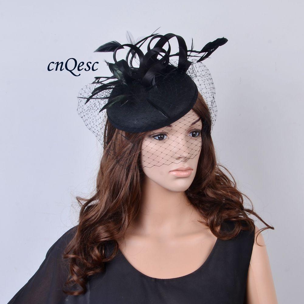 d423932ff26 NEW DESIGN Dress Black Felt Fascinator Hat for Wedding Race Church ...
