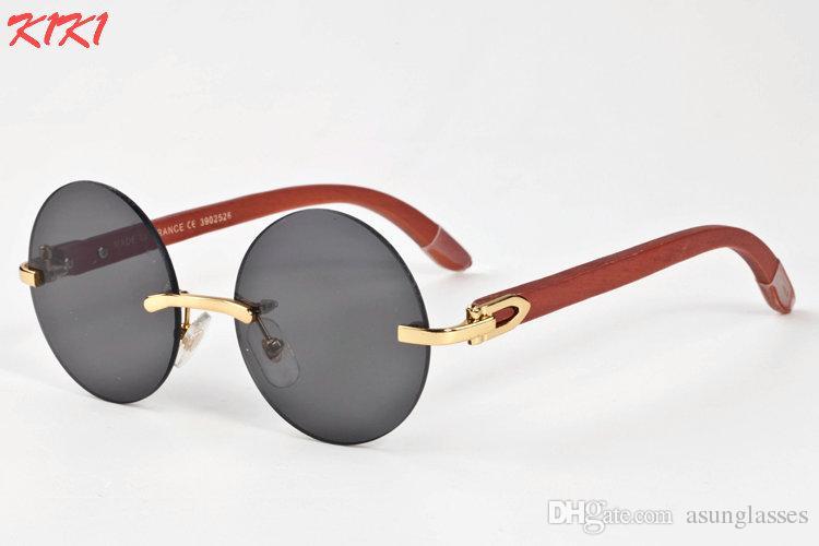 43e34235c1 Compre Nuevo 2017 Gafas De Sol Del Diseñador De La Marca Para Las Mujeres  Lente Redonda Gafas De Sol Sin Montura De Bambú Para Los Hombres Pie De  Madera ...