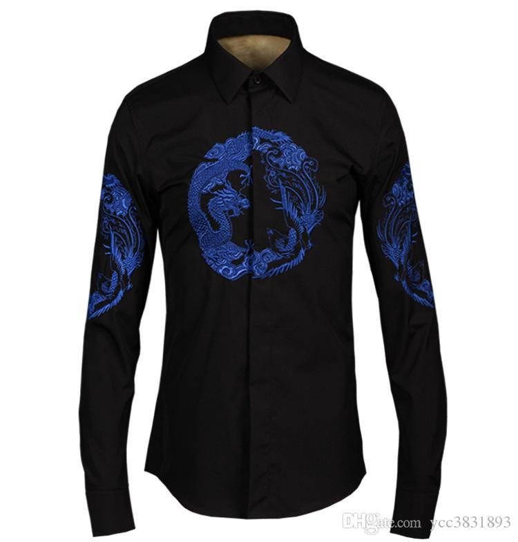 Chemise Pour Homme Style Chinois Broderie Longfeng Col Turn-down Casual Shirt 3XL Taille Blanc Noir À Manches Longues Veste Homme
