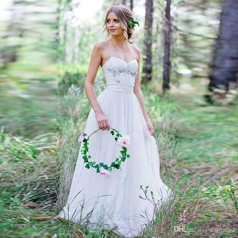 Discount 2017 Cheap Country Wedding Dresses A Line Chiffon Beach Bridal Gowns Sexy Spaghetti Straps Beaded Bohemian Dress For Older