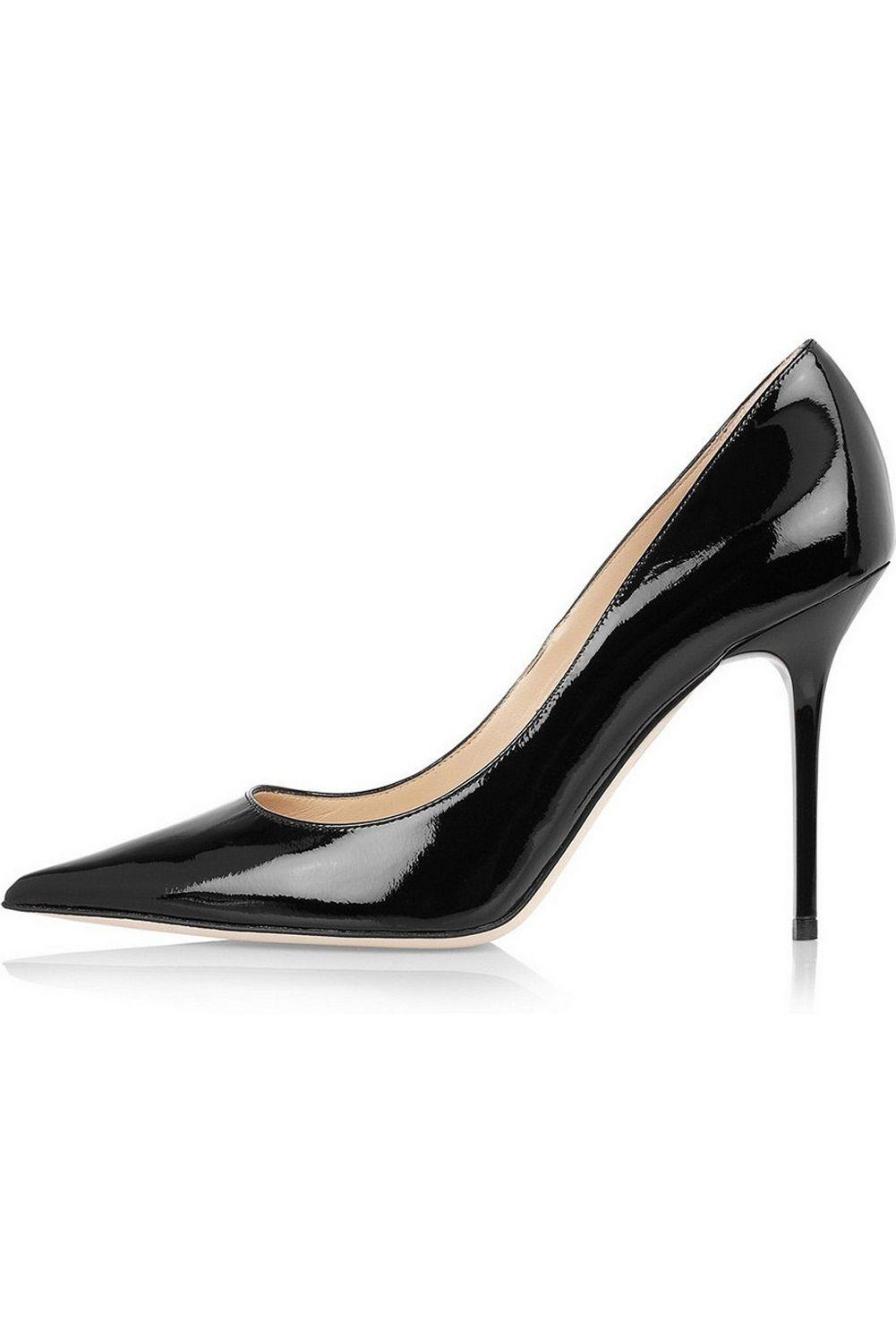 Zandina Senhoras Handmade Moda 100mm Deslizamento Em Festa Básica de Salto Alto Partido Escritório Bombas Sapatos Preta Patente
