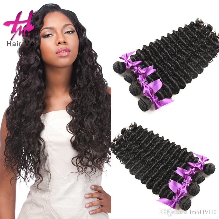4 Boundles Brazilian Deep Wave Human Hair Weft Dyeable Bleachable