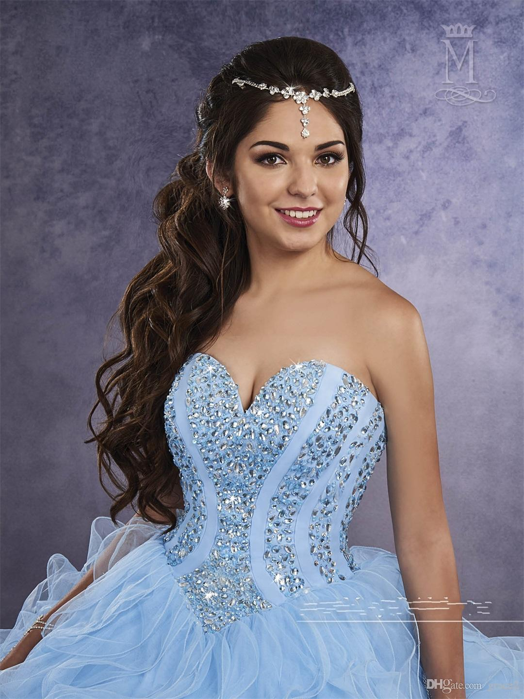 Light Blue Quinceanera Dresses 2017 Mary's with Sheer Bolero and Beaded Basque Waistline Ruffles Peach Tulle Masquerade Ball Gowns Lace Up