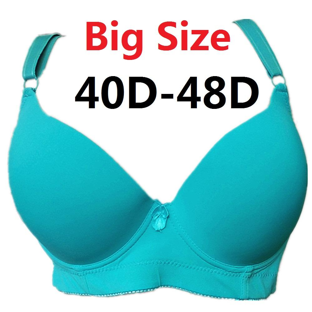 1d195a5709ce8 2019 Women Comfortable T Shirt Bra Plus Size Underwired Padded Thin Sexy  Full Coverage Big Cup Volumn Bras 40D 48D H319 From Olivezhenyu