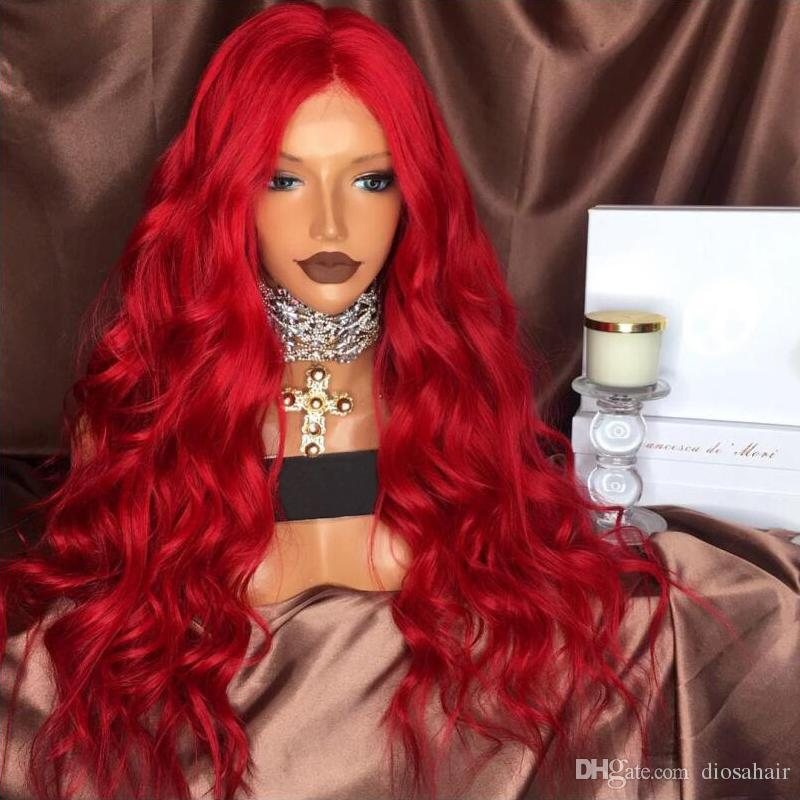 High Quality Red Color Wavy Human Hair Wigs With Natural Hair Line Full  Lace Wigs Glueless Lace Front Wigs Lace Human Hair Wig Front Lace Wigs  Human Hair ... a3ba3e1fd