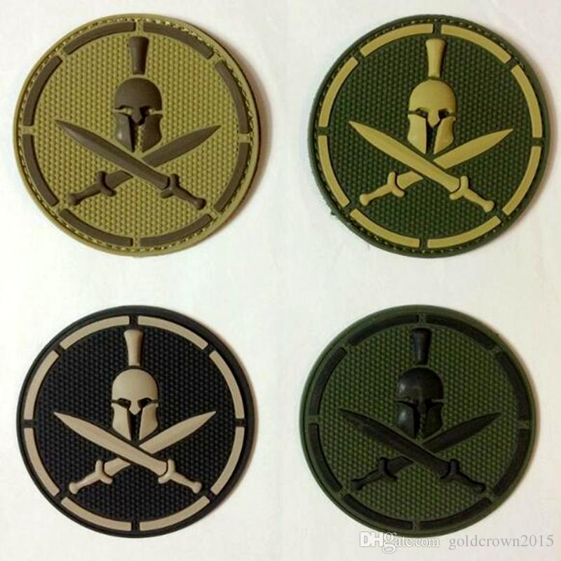 VP-187 High Quality Spartan Helm Military Patches PVC Tactics Armbands  Stick army Patch Badges Rubber Morale patches Iron on badge