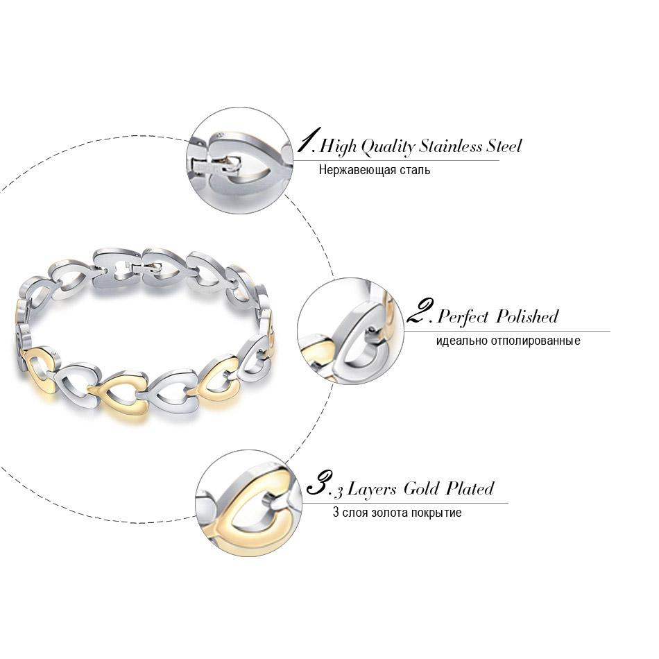 Orsa Jewelry Heart Link Style Edelstahl Armband Charm Armband für Männer Frau mit Länge 21cm GTB63