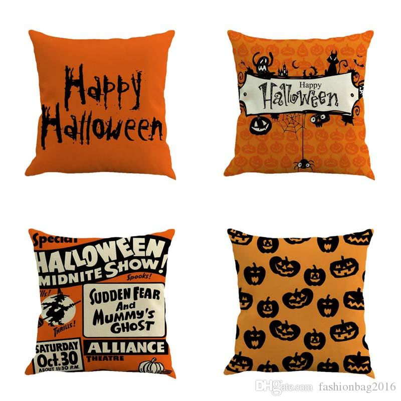 Happy Halloween pumpkin Linen Cushion Cover Home Office Sofa Square Pillow Case Decorative Cushion Covers without Pillow core 45*45cm