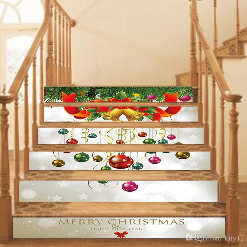 3D Self-adhesive Merry Christmas Stairway Stickers DIY for Room Stairs Decoration Home Floor Wall Sticker