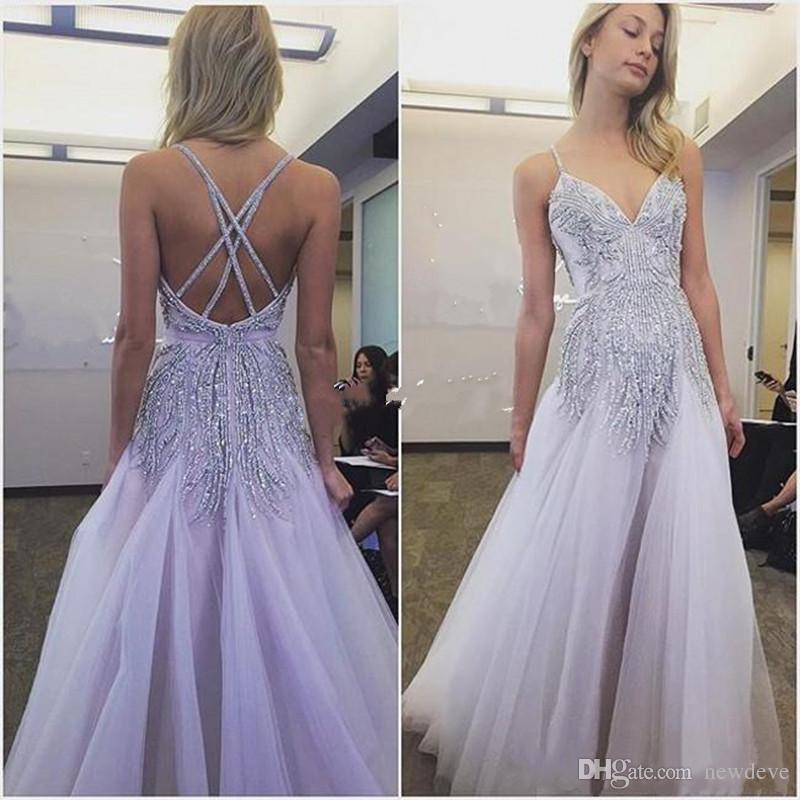 Charming Lavender Prom Dresses Long Crystal Beading Sleeveless ...