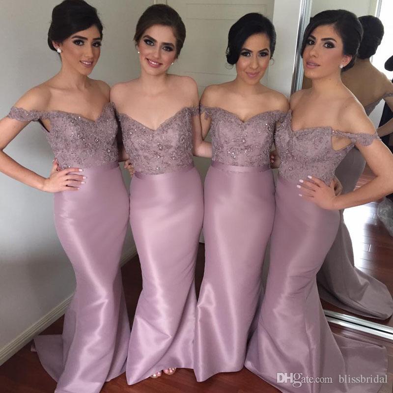 Modern Mermaid Dantel Aplike Nedime Elbisesi 2017 Saten Off-omuz Kolsuz Sweep Tren Honor Elbiseler