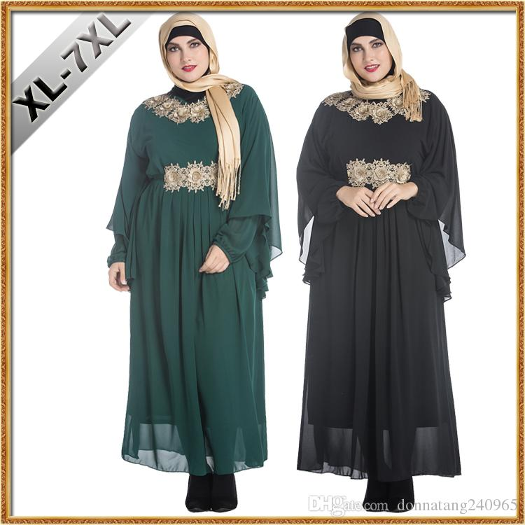 65d8e194b5 Big Size Fat Women Clothes Muslim Decals Malaysia Arab Robes Middle East  Female Bats Long Sleeve Plus Size Maxi Embroidered Chiffon Dress Shop  Sundresses ...