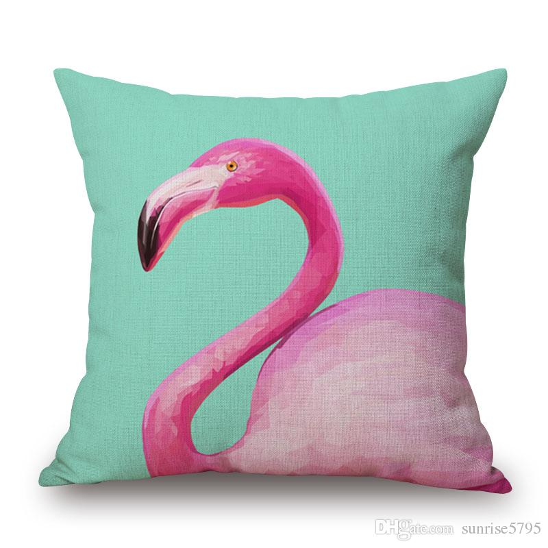wild animal cushion cover 45cm pink flamingo almofada cotton linen throw pillow case indoor outdoor decorative cojines for home