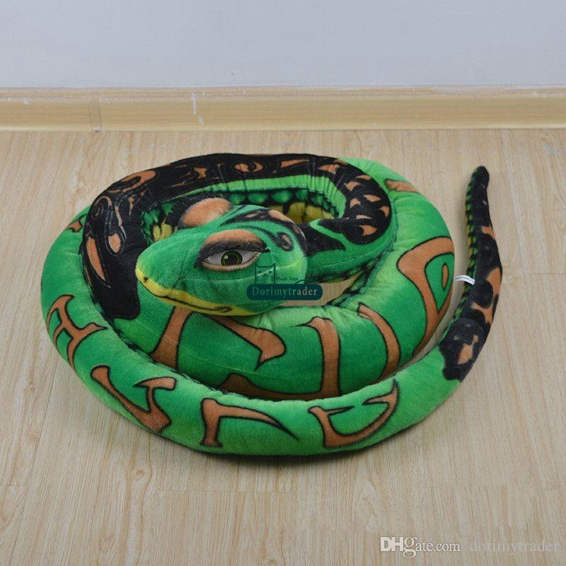 Dorimytrader Novelty Toy 134'' / 340cm Giant Stuffed Soft Plush Cartoon Animal Snake Pillow Toy Baby Gift DY60772