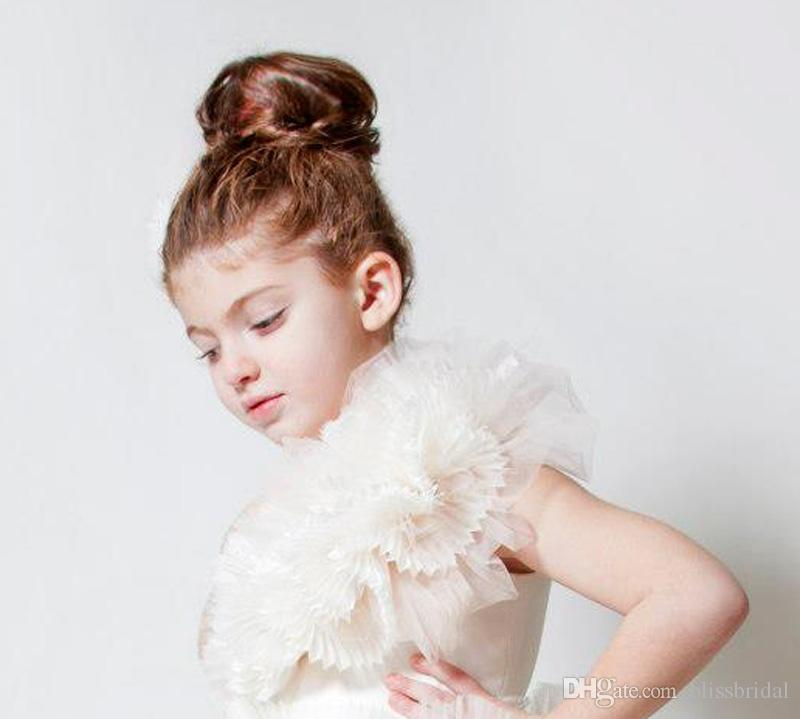 2019 Modern Concept Wedding Flower Girl Dresses With Flower Girl Couture Ruffle Hand Made Flower Floor Length Girl's Pageant Dresses