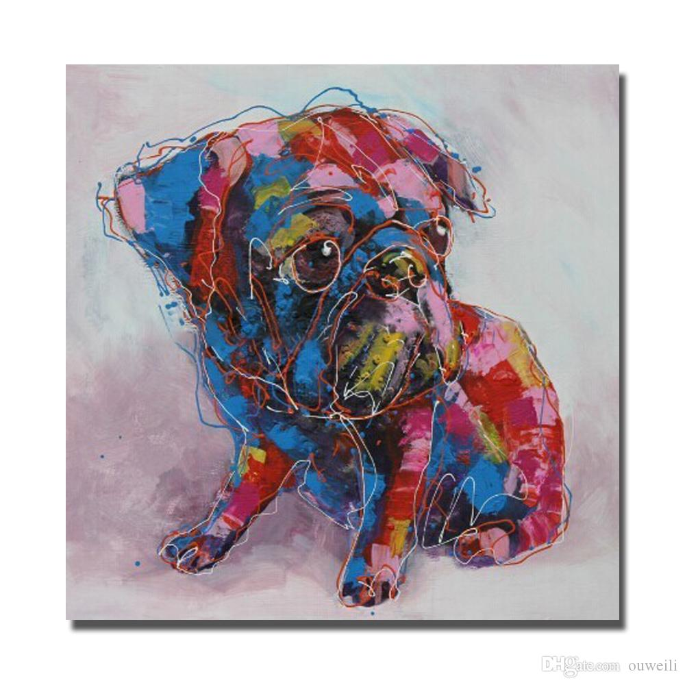 Decorative design home goods decoration by hand painted cute dog pop art images oil painting Modern Living Room Wall Decor
