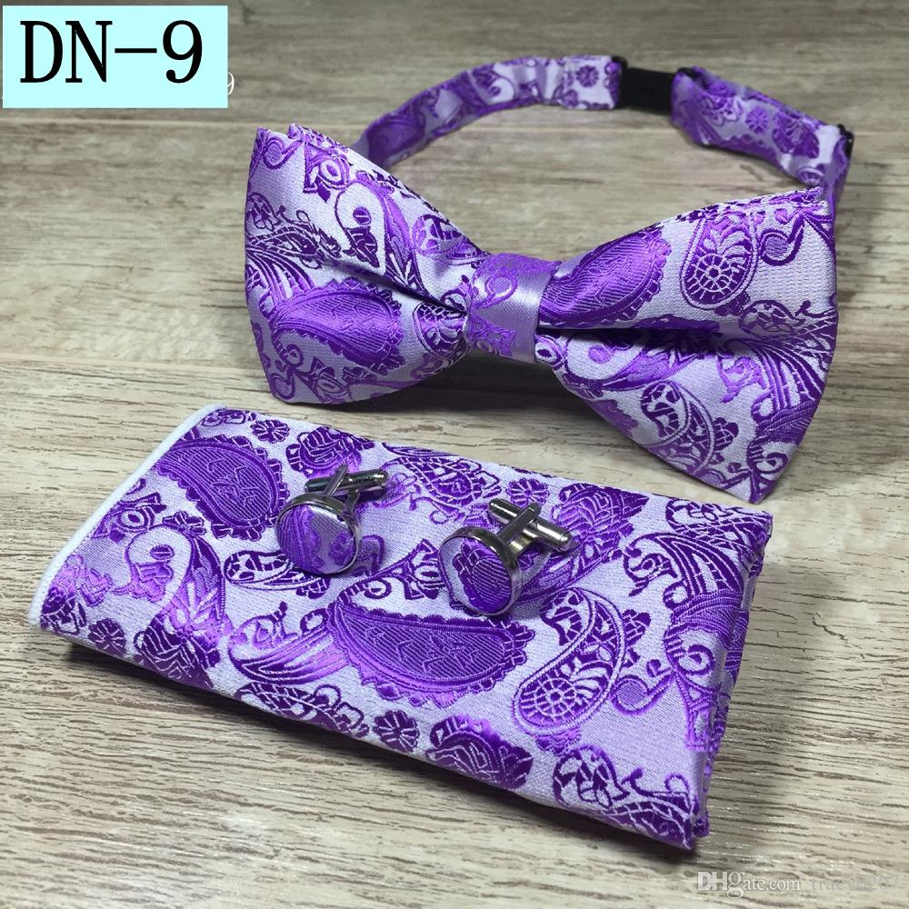 New Design Self Bow Tie And Hanky & Cufflinks Set Silk Jacquard Woven Men Butterfly BowTie Pocket Square Handkerchief Suit Wedding