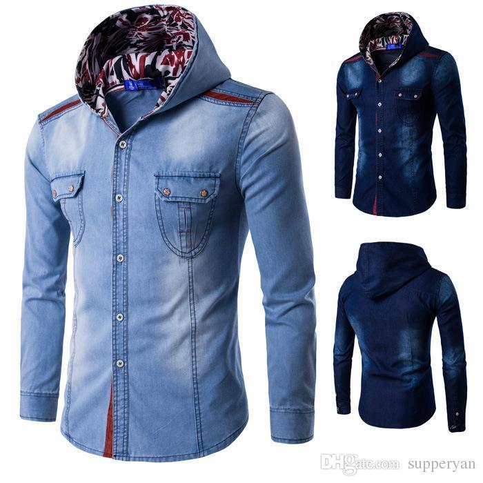 648e1df3c9f7a Compre Jeans De Hombre Camisas De Manga Larga Primavera Otoño Casual Hombres  Con Capucha Denims Camisas Patchwork Vestido De Algodón Delgado Camisas Para  ...