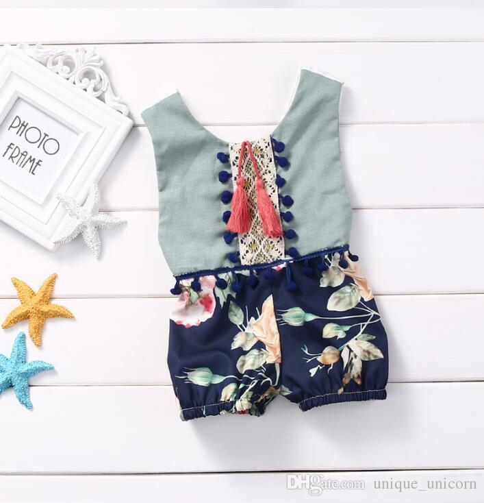 2017 Summer Infant Baby Girls Floral tassel Rompers Babies Princess Cotton Singlet Floral Jumpsuits One Piece Baby Ins Clothes