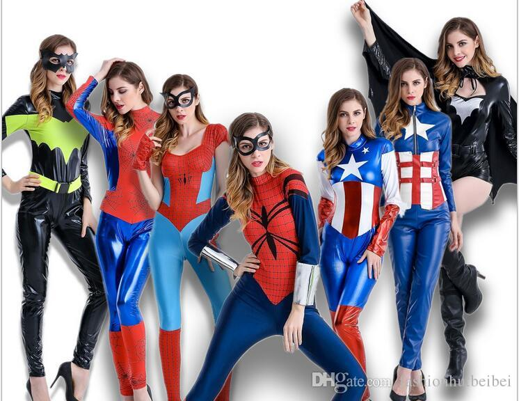 Women Spiderman Captain America Superman Batman Costume Halloween Cosplay Costume For Adult Christmas Carnival Clothes Jumpsuits Costumes Costume From ...  sc 1 st  DHgate.com & Women Spiderman Captain America Superman Batman Costume Halloween ...